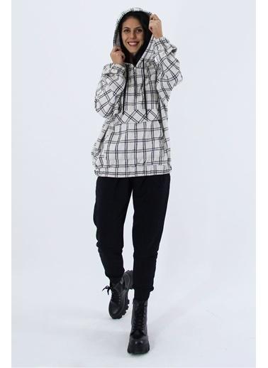 Nismia Kapşonlu Cep Detaylı Kareli Tunik Boy Eşofman Takımı Siyah